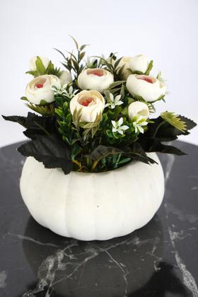 Yapay Çiçek Deposu - Kabak Saksıda Kaliteli Şakayık Çiçek Tanzimi Kırık Beyaz