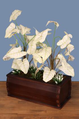 Yapay Çiçek Deposu - Dekoratif Saksıda Yapay Botanik Bahçesi Beyaz