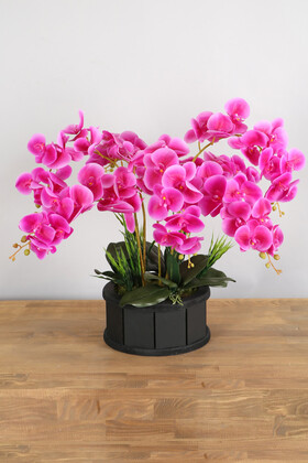 Yapay Çiçek Deposu - Dekoratif Ahşap Saksıda 7 Dal Orkide Tanzimi Fuşya