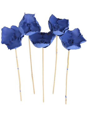 Yapay Çiçek Deposu - Kuru Çiçek 5li Palm Cap Demeti 45 cm Palm Cup Çiçeği Saks Mavi