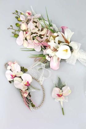 Yapay Çiçek Deposu - Orkide Gelin Çiçeği Pudra Pembe 3lü set
