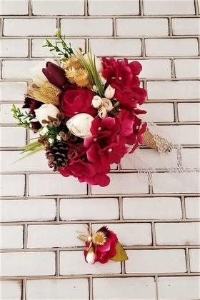 Yapay Çiçek Deposu - Sauros Bordo Beyaz Şakayık Güller Ortanca Kuru Kokteyli Gelin Buketi 2li Set