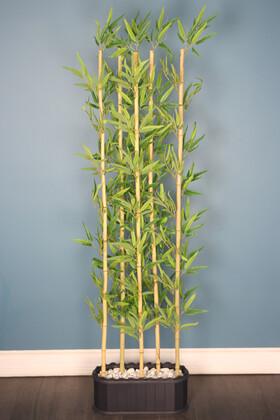 Yapay Çiçek Deposu - Dekoratif Saksıda Kırçıllı Yaprak 5 Çubuklu Bambu Seperatör (20x50x200cm)