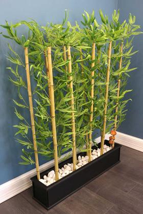 Yapay Çiçek Deposu - Ahşap Saksıda Bambu Seperatör Kırçıllı Orman Model (20x100x150cm)