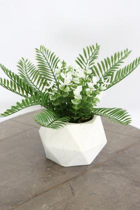Yapay Çiçek Deposu - Beton Saksıda Yapay Masa Çiçeği Model 17