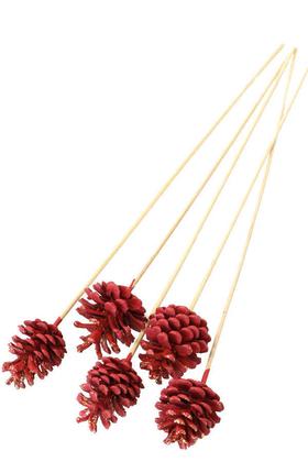 Yapay Çiçek Deposu - 5li Çam Kozalak Bambu Saplı Krımızı -Altın Simli