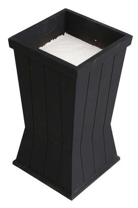 Yapay Çiçek Deposu - Dekoratif Ahşap MDF Saksı ve Çiçeklik Mat Siyah 50cm Kanallı Model