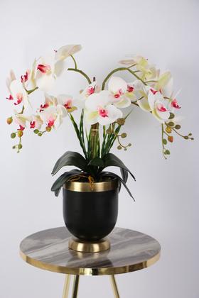 Yapay Çiçek Deposu - Metal Siyah-Bronz Saksıda Lüx 6lı Orkide Beyaz-Pembe