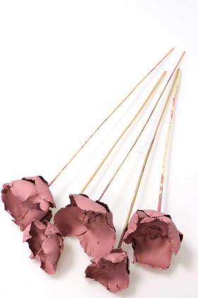 Yapay Çiçek Deposu - Kuru Çiçek 5li Palm Cap Demeti 45 cm Palm Cup Çiçeği Soft Pembe