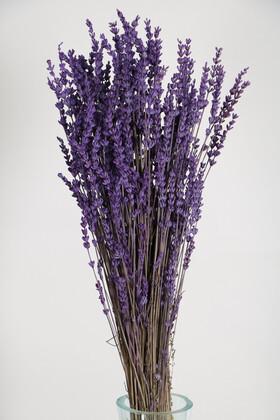 Yapay Çiçek Deposu - Şoklanmış Dökülmeye Dayanıklı Gerçek Lavanta Demeti Canlı Mor (100 gr)