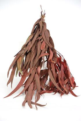 Yapay Çiçek Deposu - Şoklanmis Söğüt Okaliptus Demeti Kızıl