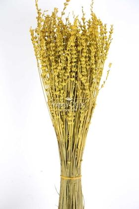 Yapay Çiçek Deposu - Şoklanmış Dökülmeye Dayanıklı Gerçek Lavanta Demeti Hardal (100 gr)