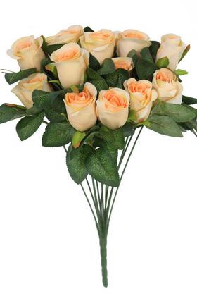 Yapay Çiçek Deposu - Yapay Çiçek Kabarık 12li Gül Buketi Somon