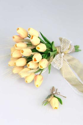 Yapay Çiçek Deposu - Islak Lale Gelin Çiçeği 2li Set Somon