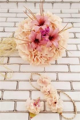 Yapay Çiçek Deposu - Gelin Buketi Somon Ortanca Lilyum Kuru Çiçek Şöleni 3lü Set