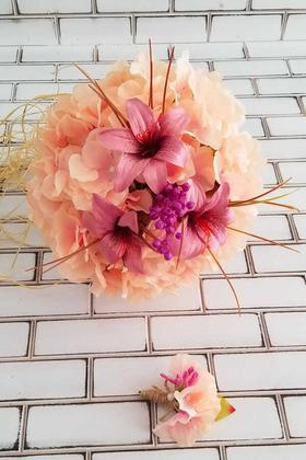 Yapay Çiçek Deposu - Gelin Buketi Somon Ortanca Lilyum Kuru Çiçek Şöleni 2li Set