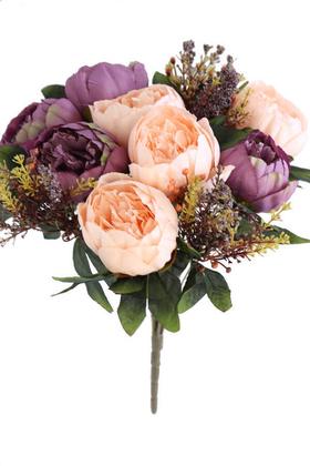 Yapay Çiçek Deposu - Yapay Çiçek 12 Dallı Lüx Şakayık Gül Aranjmanı Somon-Mor