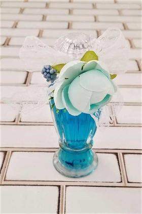 Yapay Çiçek Deposu - Söz Nişan Nikah Kına Mevlit Bebek Kolonya Şişesi Büyük Boy Mavi