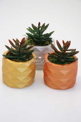 Yapay Çiçek Deposu - Sukulent Yeni Kaktüs Mini Beton Saksıda 3lü Set (Bakır-Altın-Gümüş) Succulent