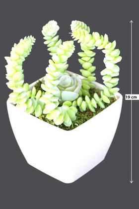 Yapay Çiçek Deposu - Melamin Saksıda Yapay Succulent Sukulent Marnieriana