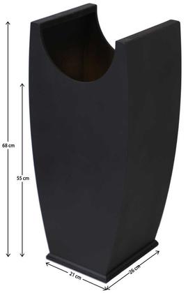 Yapay Çiçek Deposu - Dekoratif Ahşap Çiçeklik Saksı Baca Model Siyah