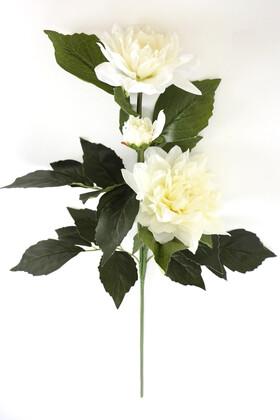 Yapay Çiçek Deposu - Yapay Çiçek Tek Dal Peony Gül 80 cm Kırık Beyaz