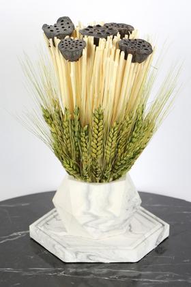 Yapay Çiçek Deposu - Tepsili Beton Saksıda Kuru Başak Ve Lotus Tanzimi 23 cm