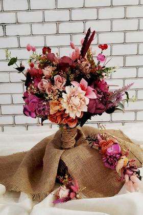 Yapay Çiçek Deposu - Gelin Buketi Eleena 3lü Set