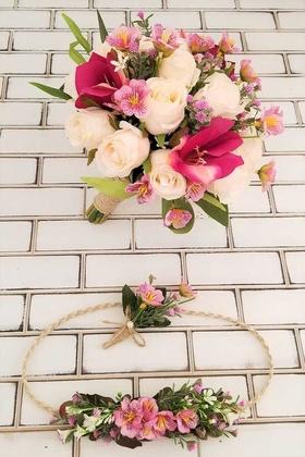 Yapay Çiçek Deposu - Titus Lilyum Gül Sümbül Karnavalı Gelin Buketi 3lü Set