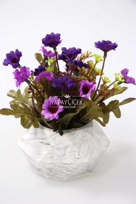 Yapay Çiçek Deposu - Tombul Beton Saksıda Bahar Papatyası Mor