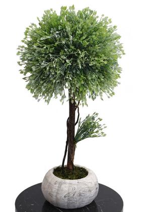 Yapay Çiçek Deposu - Dekoratif Lüx Top Ağaç Çam Model 35x60 cm Açık Yeşil