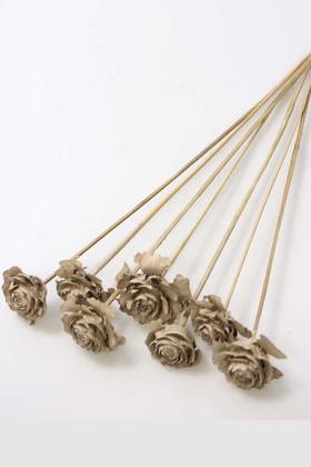 Yapay Çiçek Deposu - Cedar Rose 7Li Demet 45 cm Kum Rengi
