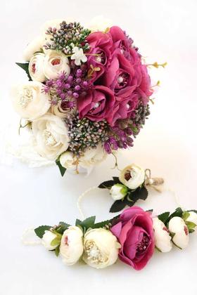Yapay Çiçek Deposu - Gelin Çiçeği Rosemare 3lü Set