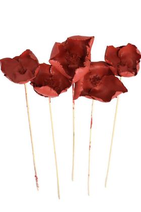 Yapay Çiçek Deposu - Kuru Çiçek 5li Palm Cap Demeti 45 cm Palm Cup Çiçeği Kırmızı