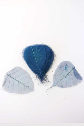 Yapay Çiçek Deposu - 25li Paket Kurutulmuş Skeleton Yaprağı Gece Mavisi
