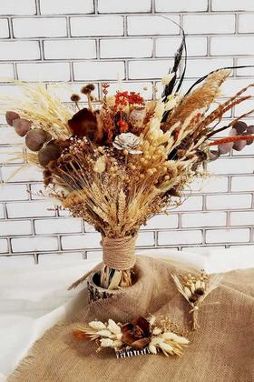 Yapay Çiçek Deposu - Gelin Buketi Eldora 3lü Set