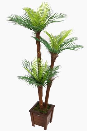 Yapay Çiçek Deposu - Yapay Islak Dokulu Fenix Sıkas Ağacı 3 Gövdeli 140 cm