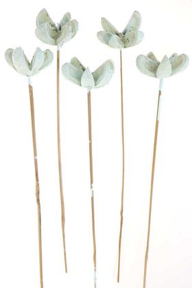 Yapay Çiçek Deposu - Tropic Bullet Flower Kuru Çiçek Tropik 5li Retro Uçuk Mavi