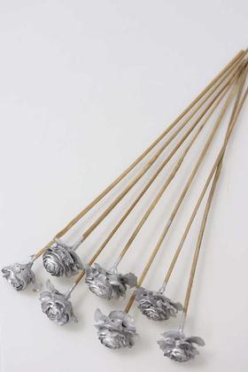 Yapay Çiçek Deposu - Cedar Rose 7li Demet 45 cm Gümüş