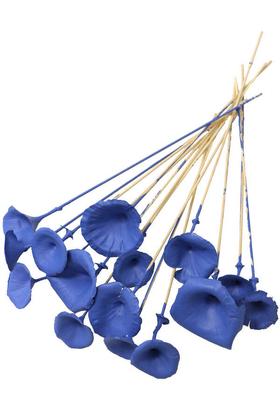 Yapay Çiçek Deposu - 15 Adet Kuru Golden Mushromm Bambu Çubuklu Saks Mavi