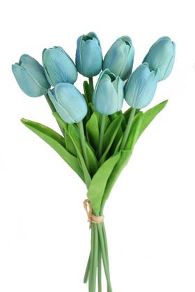 Yapay Çiçek Deposu - Yapay 8li Islak Lale Buketi Gerçek Doku Turkuaz