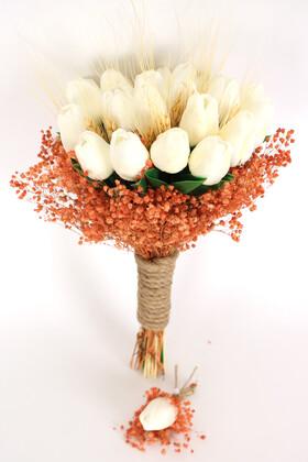 Yapay Çiçek Deposu - Turuncu Beyaz Esintisi Gelin Buketi Islak Lale Cipso 2li Set