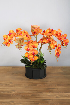 Yapay Çiçek Deposu - Dekoratif Ahşap Saksıda 7 Dal Orkide Tanzimi Turuncu