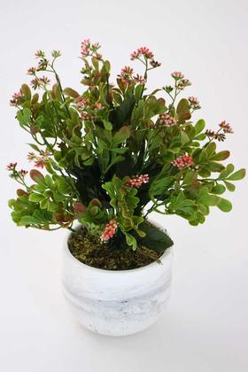 Yapay Çiçek Deposu - Beton Saksıda Kalanşo Çiçeği (Kalanchoe) 45cm Pembe