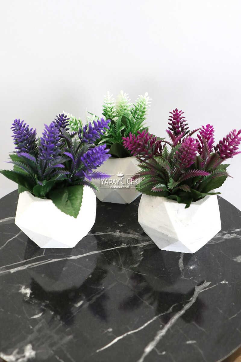 Beton Saksıda Yapay Bitki 3lü Set Model 3