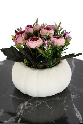 Yapay Çiçek Deposu - Kabak Saksıda Kaliteli Şakayık Çiçek Tanzimi Pastel Pembe