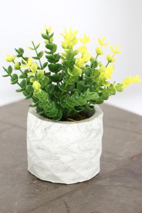 Yapay Çiçek Deposu - Beton Saksıda Yapay Masa Çiçeği Model 21