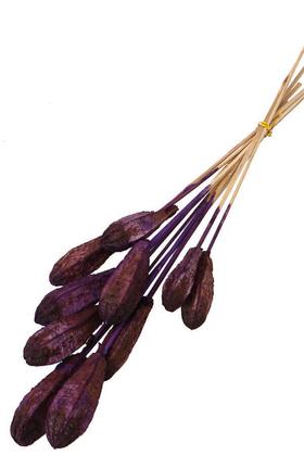 Yapay Çiçek Deposu - 10lu Tropik Mehogany Kuru Çiçek Retro Mor