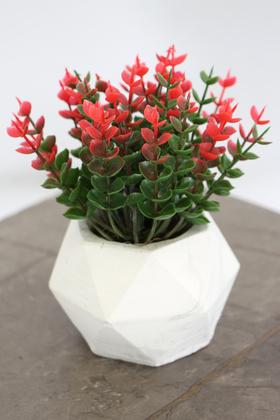 Yapay Çiçek Deposu - Beton Saksıda Yapay Masa Çiçeği Model 11