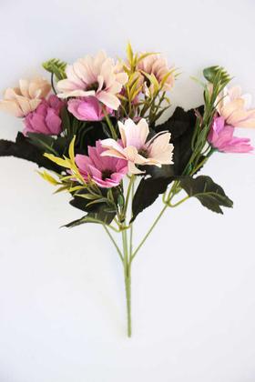 Yapay Çiçek Deposu - Yapay Çiçek 10lu Büyük Kafa Papatya Demeti Mor-Krem